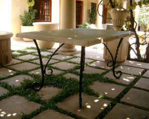 patio table with twirl legs